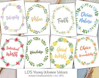 LDS Young Women Values | Watercolor Floral | Instant Download