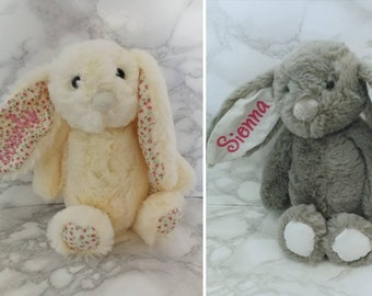 4b1454d5b3b Embroidered Personalised Bunny Rabbit Cream Grey Bunnies Soft Toy New Baby