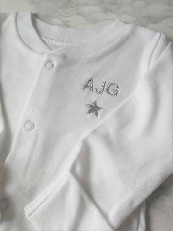 Personalised Baby Grow Sleep Suit with Embroidered Rainbow and Name or Initials