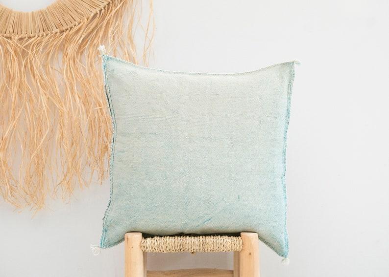 NEW Sky Blue Cactus Silk Pillow 17x18  Sabra Pillow  Moroccan Berber Pillow  Boho Throw Pillow  Boho Cushion  Decorative Pillow