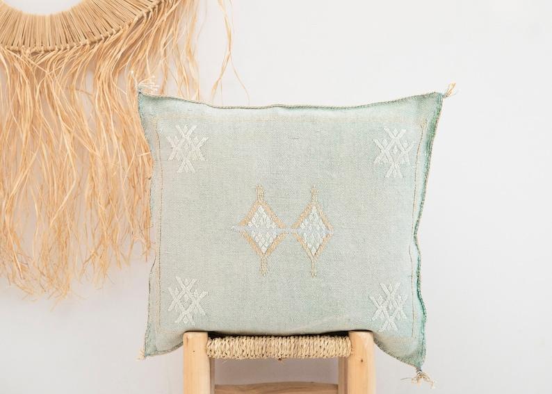NEW Light BlueGreen Cactus Silk Pillow 18x20  Sabra Pillow  Moroccan Pillow  Boho Throw Pillow  Boho Cushion  Berber Cushion