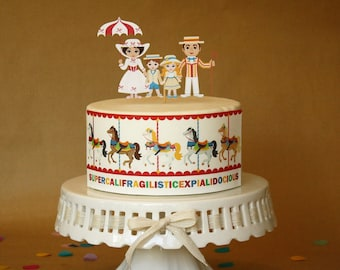 Mary Poppins Cake Decorations Edible Strip Or Topper