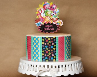 Shopkins Inspired Birthday Cake Decorations Patterned Edible Image Wrap Or Characters Cardstock Topper