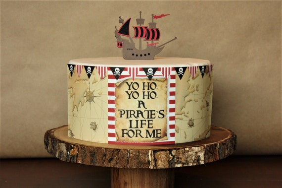 Prime Pirate Theme Cake Decoration Pirate Map Edible Cake Wrap Etsy Funny Birthday Cards Online Aeocydamsfinfo