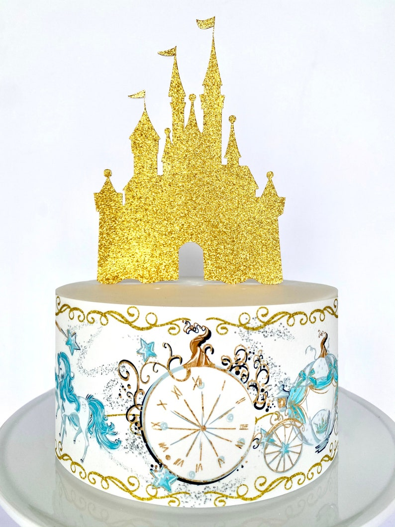 Cinderella/'s Horse and Carriage Cake Wrap or Gold Princess Castle Cake Topper