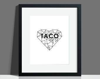 Taco Geometric Minimal Modern Heart, Instant Printable Download