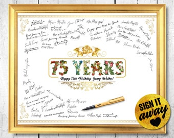 75th Birthday Decoration For Dad Banner Him Sign Guestbook