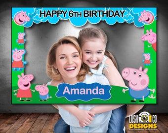 "photo booth frame Peppa pig, Peppa pig birthday props, Peppa pig Photobooth, photo booth frame, Peppa Pig Birthday 36""x24"" PDF Files"