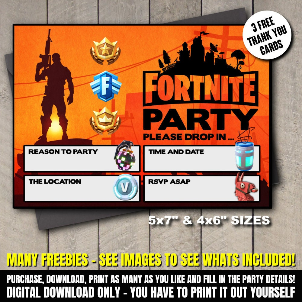 Fortnite Birthday Invitation printable green FREE goddies | Etsy
