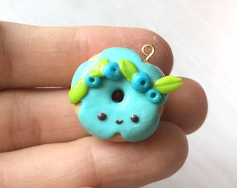 Polymer blueberry donut charms