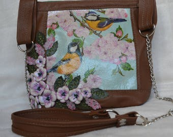 Bag with birds genuine leather art.1-398