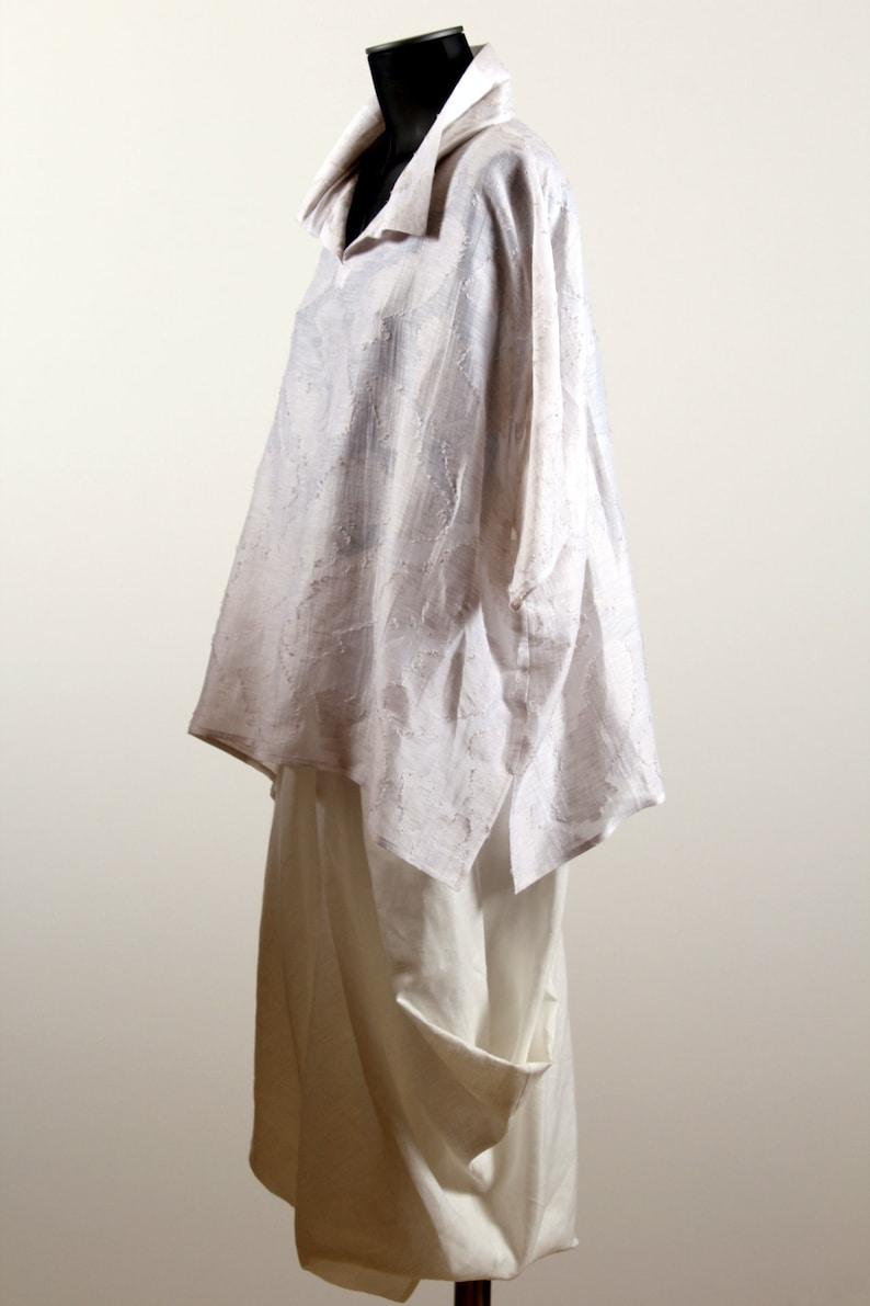 White Silk and Linen Tunic Fancy Silk Shirt Elegant Tunik Designer TunicLinen BlouseWomen Office WearOversized TunicLayered Tunic