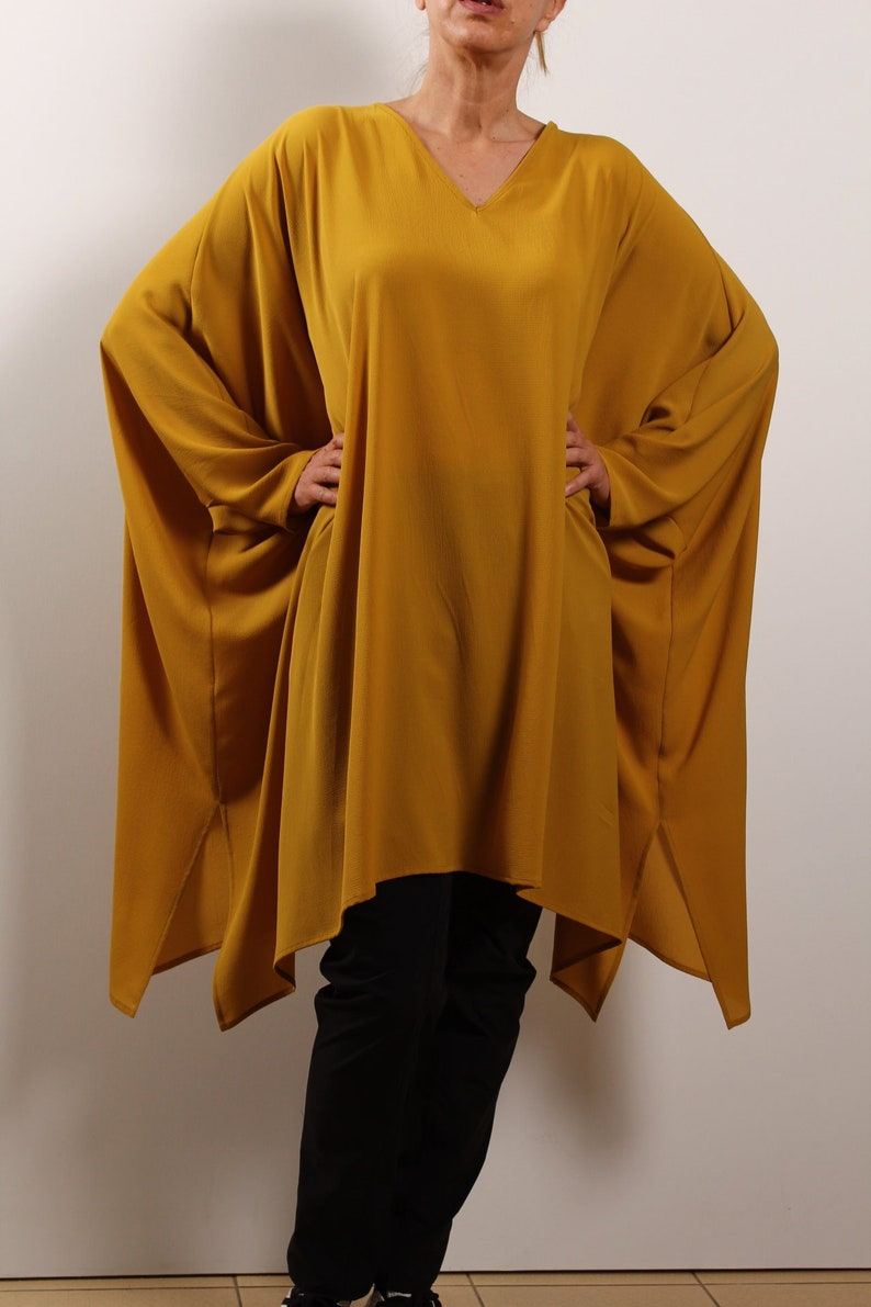Yellow Asymmetric Tunic  XXXL Viscose Tunic  Oversized Blouse  Fancy Fluttering Kaftan  Trendy Oversized Tunic  Smart Lagenlook Tunic