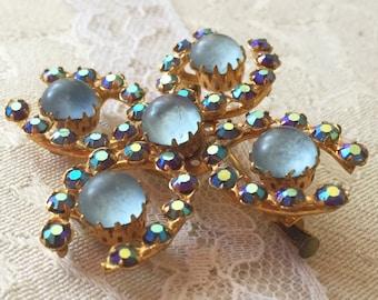 Broche strass Aurora Borealis, Broche dorée ronde strass et perle, broche  ronde strass, bleu, ronde, broche fantaisie strass bleu ca3cc53513b0