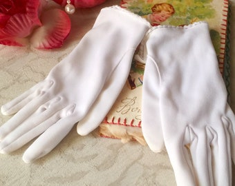 Vintage Mid Century 1950s1960s Formal Pink Rouched Gloves Shabby Chic WeddingBallEvening WearCocktailTea Party Retro