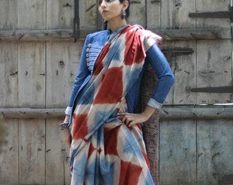 Buy Ajrakh Shibori Saree : The Dance Of The Sun And Clouds