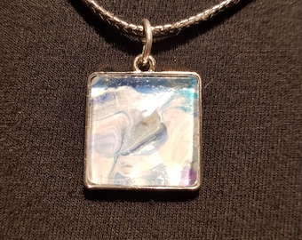 Handmade and hand painted Fluid Art Pendant with necklace FREE SHIPPING within United States and Germany.