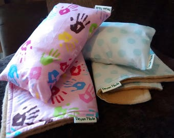 Doll or Toy Blanket Double-Sided Cute Print Fleece Plus Pillow - Boys/Girls/Toddlers/Kids Pretend/Imaginary Play