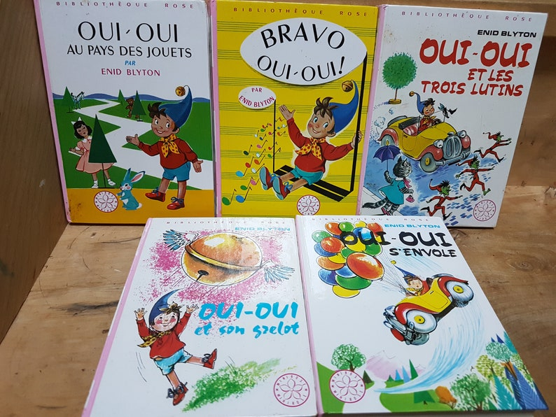 Vintage French Oui Oui 5 Livres Pour Enfants Bibliotheque Rose Noddy In French Children S French Books Collection Of Oui Oui