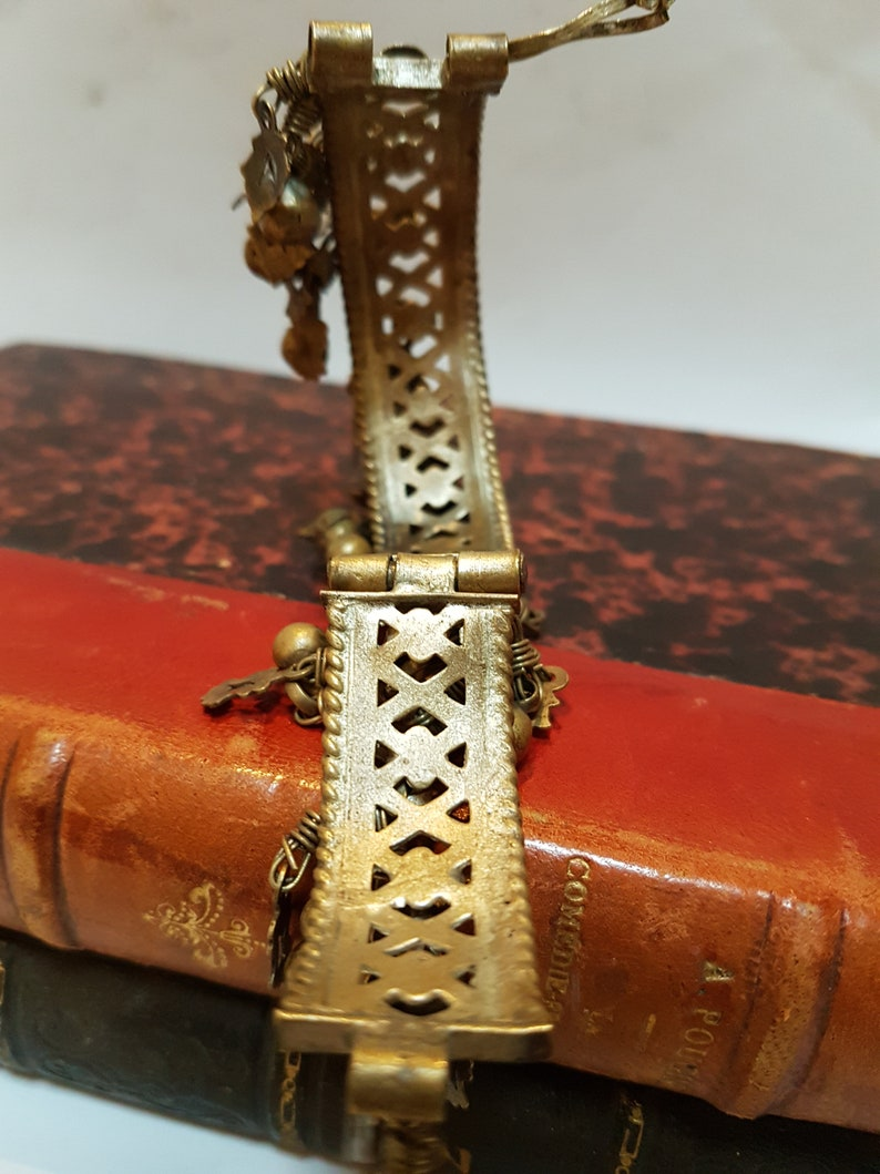 Antique Brass Baby Ghungroo Bracelet Very Small Bracelet with Intricate Design Antique Asian Baby Brass Bell Bracelet