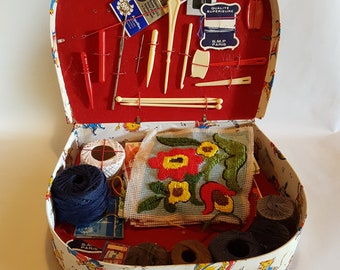 1950s French Vintage Child's Sewing Case. Vintage Sewing Kit. Complete Case of Goods. Treasure Trove of Sewing Items from 1950s