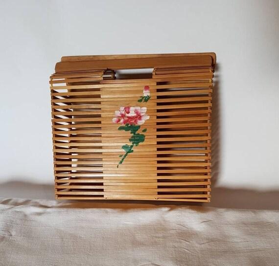Vintage Slated Bamboo Handbag Vintage Wood Tote Bag Etsy