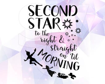 peter pan quote svg dxf second star to the right vector cut files cricut silhouette cameo party neverland design vinyl decal transfer iron
