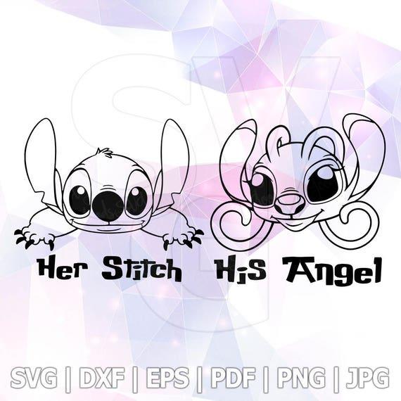 Lilo and Stitch Peeking Her Stitch His Angel SVG DXF EPS   Etsy