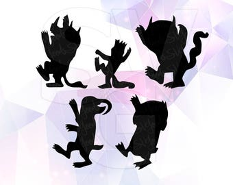 Where the Wild Things are SVG DXF Clip art Monster Party Supply Cut Cricut Design Silhouette Cameo Decoration Vinyl Decal Stencil Template