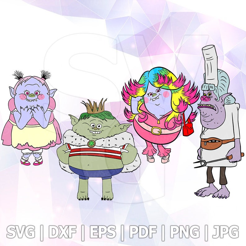 364d37ccf4ceb SVG DXF Png Poppy Trolls Bridget Chef Prince Gristle Clip Art   Etsy
