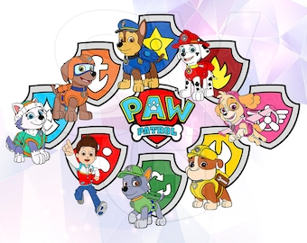SVG DXF Paw Patrol All Badges Shields and Dogs Layered Files Cricut Designs Silhouette Party Decoration Vinyl Decal Tshirt Iron on Stencil