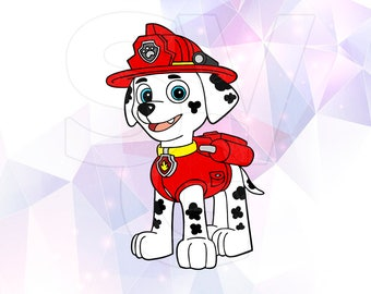 SVG DXF Paw Patrol Marshall Vector LAYERED Cut Files Cricut Designs Silhouette Cameo Party Supply Vinyl Decal Tshirt Crafting Scrapbooking