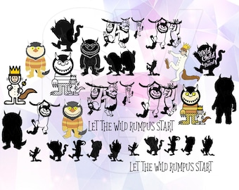 Where the Wild Things are SVG Clip art Monster Party Supply Cut File Cricut Design Silhouette Cameo Decoration Vinyl Decal Stencil Iron on