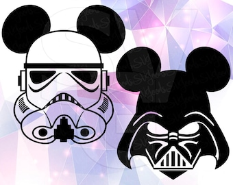 Star Wars SVG Stormtrooper Darth Vader Eps DXF Mickey Mouse ears Cricut Design Space Cameo Silhouette Studio Vinyl Cut File Screen Printing