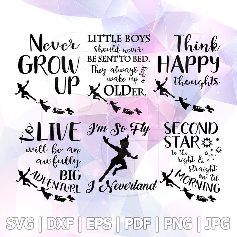 Peter Pan Quote SVG DXF EPS Vector Cut Files Cricut Silhouette Cameo Party  Neverland Design Vinyl Decal Transfer Heat Iron on TShirt Party