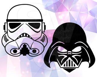 Star Wars SVG Stormtrooper Darth Vader Eps DXF File for Cricut Design Space Cameo Silhouette Studio Vinyl Cut File Screen Printing Skywalker