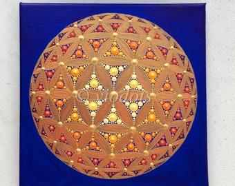 Fleur De Vie 3d Peinture De Dot Image Dorigine Toile De 20 Etsy
