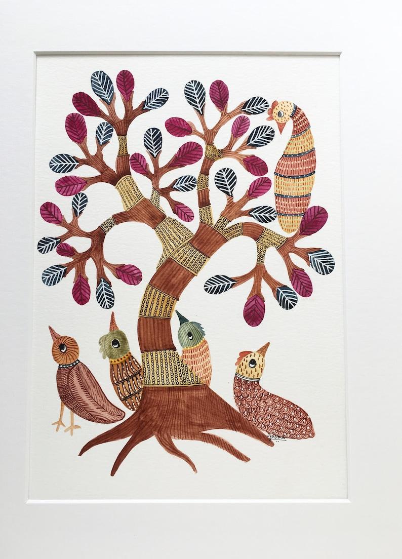 Birds Watercolor Painting Indian Folk Art