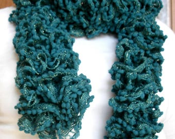 Hand knit scarf. Gift for mom. Teal scarf. Knitted scarf. Long woman scarf. Trendy scarf. Vegan scarf no wool