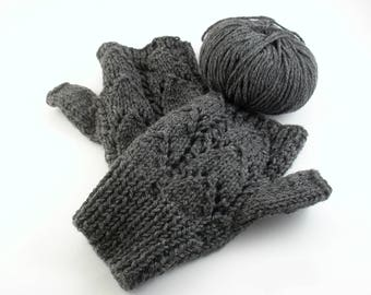 Alpaca gloves Fingerless gloves Fingerless mittens Gray gloves Gift for her Gift-for-mom Hand knit gloves Alpaca wool half gloves