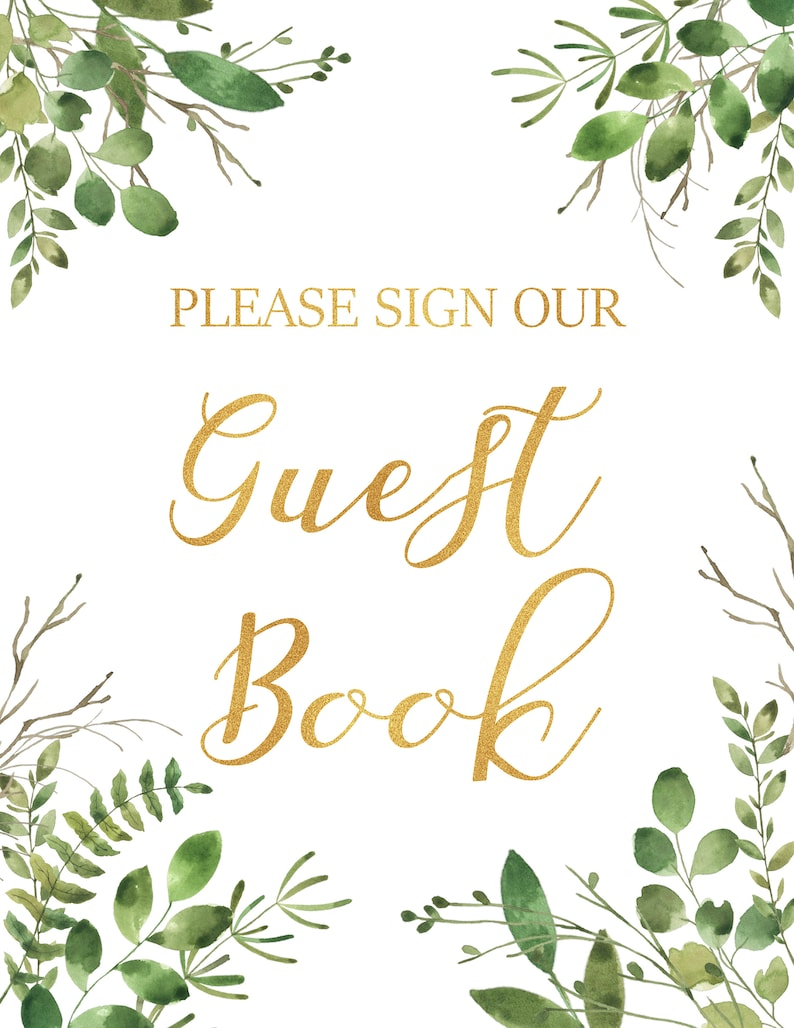 Drinks Food Greenery gold table signs Baby shower table signs Welcome Gifts Guest Book Table Signs for Baby Shower Treat