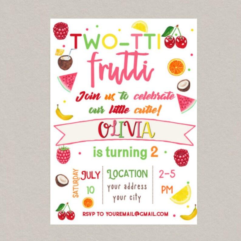 Tutti Frutti Birthday Invitation Two Tti Party Fruit 2nd Invite Printable Summer