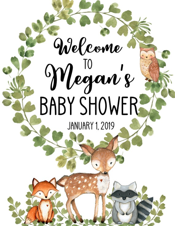 graphic regarding Printable Woodland Animals known as Printable Woodland Pets Youngster Shower Welcome Signal, Forest Woodland Little one Shower Hefty, welcome signal little one shower woodland pets