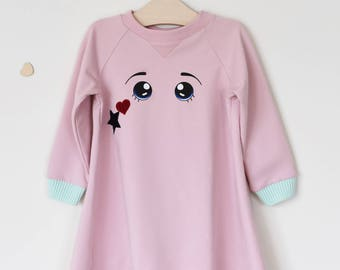 Pink with long sleeves dress