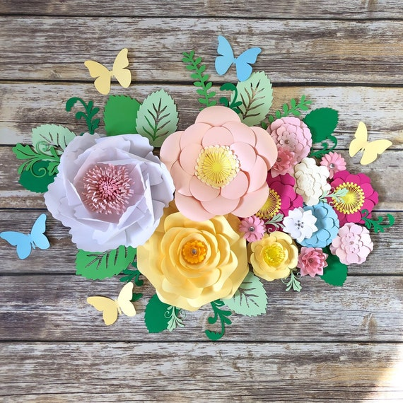 Paper Flowers Set Of 15 Medium Small Flower Backdrop Spring Floral Arrangement Nursery Wall Art 3d Flower Decals Girl Birthday Gift