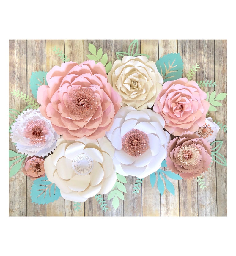Large Paper Flowers Wall Art Rose Gold And Blush Wedding Wall Decor For Reception Blush Nursery Floral Decal 3d Paper Art