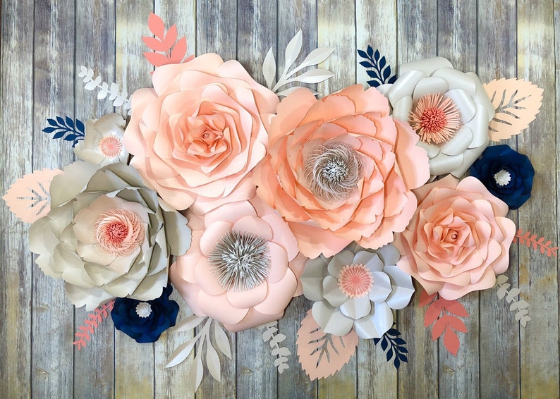 Large Paper Flower Wall Decor Peach Nursery Decor Girl Wedding Backdrop Boho Flowers 3d Wall Art Nursery Paper Flowers
