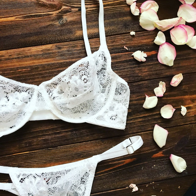 522a79ce12 White lace and mesh lingerie set. Sheer lace underwired bra and lacy ...