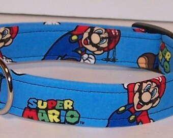 Super Mario Dog Collar on Blue Mario Bros Nintendo Video Games