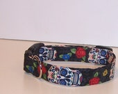 Wet Nose Designs Goth Sugar Skulls Dog Collar on Black DOTD Day of the Dead 2